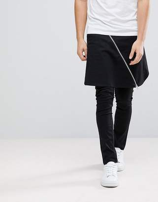 Asos Design Super Skinny Trousers With Skirt And Exposed Zips