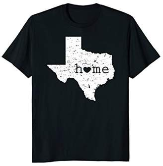 Texas Home T Shirt Distressed TX Map with Heart T-Shirt