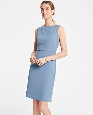 Ann Taylor Petite Embroidered Trim Sheath Dress