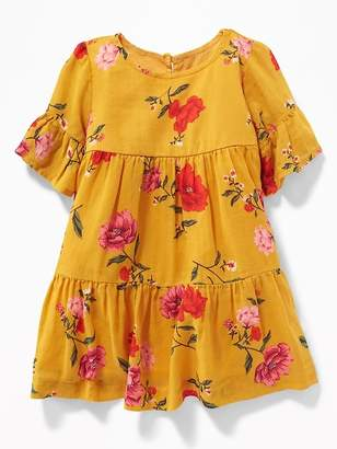 Old Navy Tiered Floral-Print Crepe Dress for Baby
