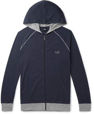 HUGO BOSS Stretch-Cotton Jersey Zip-Up Hoodie - Men - Blue