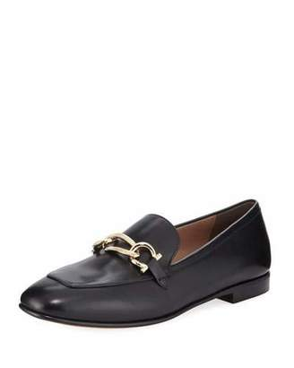 Salvatore Ferragamo Chain Leather Slip-On Flat Loafer