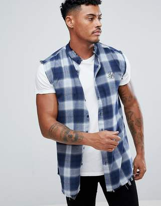SikSilk sleeveless muscle shirt in blue check