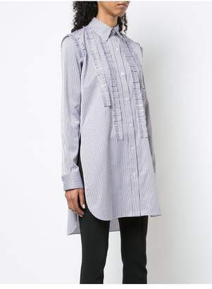 ADAM by Adam Lippes Striped Cotton Jacquard Tunic With Pleated Ruffle Trim
