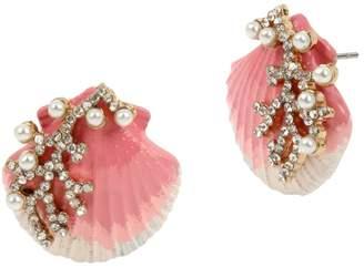 Betsey Johnson Goldtone, White Faux Pearl Crystal Stud Earrings