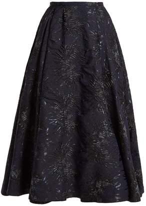 Rochas Floral-cloqué A-line skirt