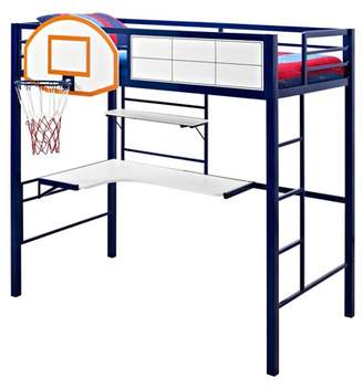 STUDY Powell Twin Loft Bed with and Basketball Hoop, Blue