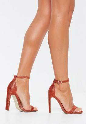 Missguided Glitter Square Toe Barely There Heels