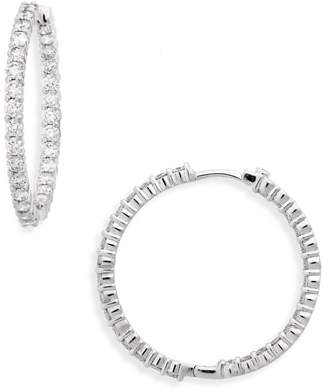 Roberto Coin Large Diamond Hinged Hoop Earrings