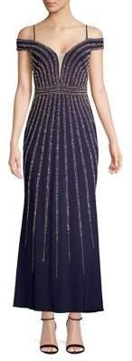 Xscape Evenings Petite Cold-Shoulder Studded Embellished Crepe Gown