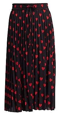 RED Valentino Women's Heart Pleated Midi Skirt