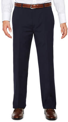 Blend of America STAFFORD Stafford Travel Wool Stretch Navy Pinstripe Flat-Front Dress Pants - Classic Fit