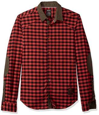 Buffalo David Bitton Men's Sidroq Slim Fit Long Sleeve Washed Fashion Button Down Shirt
