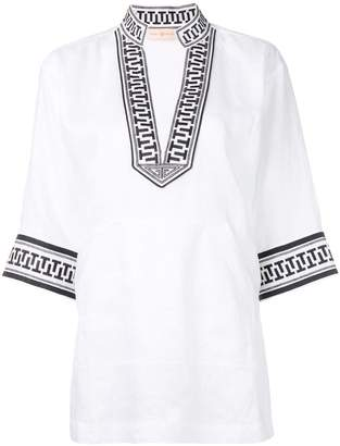 Tory Burch embroidered trim tunic top