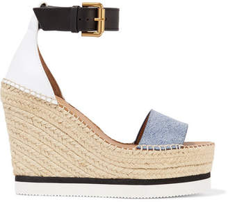 See by Chloe Denim And Leather Espadrille Wedge Sandals - Light denim
