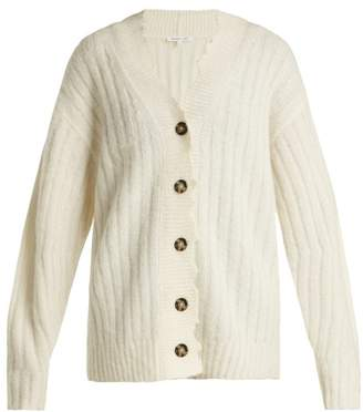 Helmut Lang Distressed Ribbed Knit Cardigan - Womens - Ivory