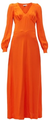 Bella Freud Nova Balloon Sleeve Crepe Dress - Womens - Orange