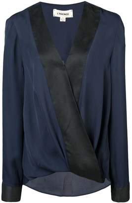 L'Agence two-tone wrap blouse