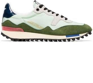 Golden Goose green low top lace up leather sneakers