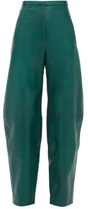 KHAITE Emma High Rise Leather Trousers - Womens - Green