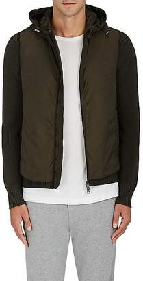 Moncler Men's Tech-Fabric & Rib-Knit Wool Hooded Jacket