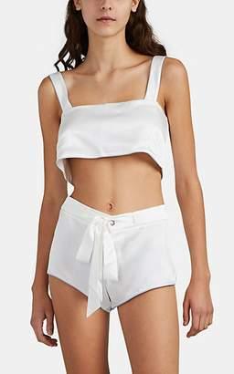 Kiki de Montparnasse Women's Piping-Trimmed Silk Crop Top - White
