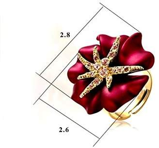 Ring Fashion 18k Yellow Gold Plated Swarovski Crystal Starfish Party Red Flower R187 (Brass-plated-gold, 9)