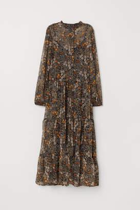 H&M Patterned Chiffon Dress - Black