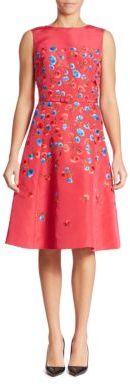 Oscar de la Renta Floral Embroidered Silk Faille Dress $5,990 thestylecure.com