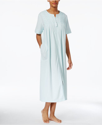 Miss Elaine Smocked Zip-Front Stretch Terry Long Robe $68 thestylecure.com