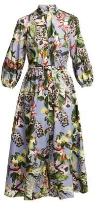 Erdem Adrienne Dream Bird Print Dress - Womens - Blue Multi