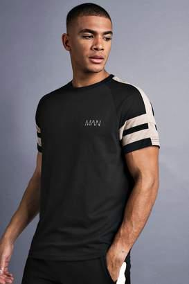 boohoo MAN Raglan T-Shirt With Tape Detail