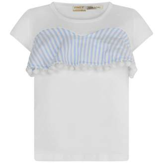 MET METGirls White & Blue Striped Coile Top