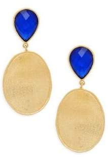 Rivka Friedman Poppy Blue Crystal & Mother-Of-Pearl Oval Drop Earrings