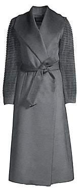 Sentaler Women's Long Rib-Sleeve Alpaca & Wool Wrap Coat