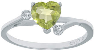 FINE JEWELRY Genuine Peridot and White Topaz Sterling Silver Heart-Shaped Ring