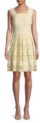Karl Lagerfeld Paris Lace Panel Fit-&-Flare Dress
