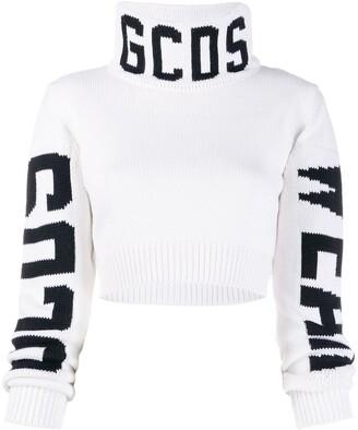 GCDS logo intarsia cropped jumper