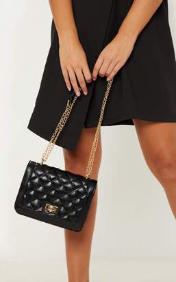 2a4473ee4dde PrettyLittleThing Black PU Quilted Chain Cross Body Bag