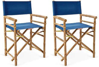 One Kings Lane Set of 2 Director's Bamboo Chairs - Blue