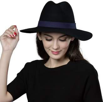 Siggi Ladies 100% Wool Felt Porkpie Hat Fedora Church Top Hats for Women Burgundy