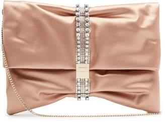 Jimmy Choo Chandra crystal-embellished satin clutch bag