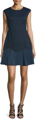 Rebecca Taylor Sleeveless A-Line Pique Combo Dress, Navy