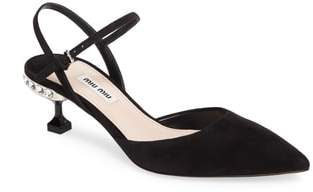 Miu Miu Embellished Heel Slingback Pump