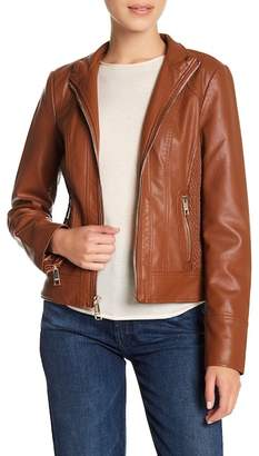 GUESS Zip Front Faux Leather Jacket