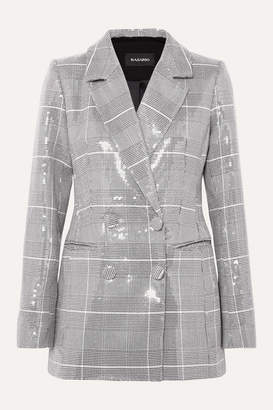 Rasario Sequined Checked Double-breasted Tweed Blazer - Gray