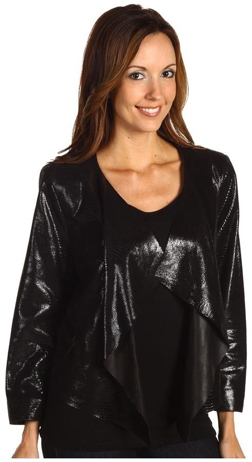 Anne Klein Snakeskin Cropped Jacket (Black) - Apparel
