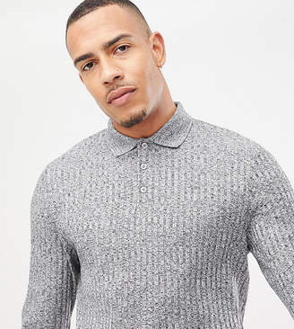 Asos DESIGN Tall long sleeve polo shirt in heavy rib