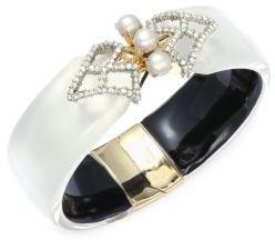 Alexis BittarLucite Faux Pearl, Swarovski Crystal & 10K Gold-Plated Hinged Bangle Bracelet