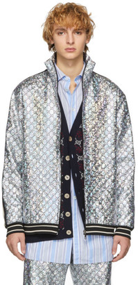 Gucci Silver GG Laminated Track Jacket